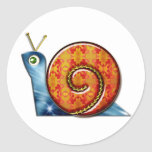 Sly Snail Round Sticker