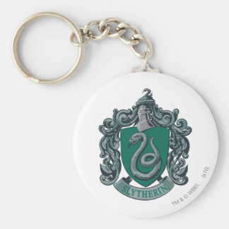 Slytherin Crest Green Basic Round Button Key Ring