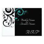 Sm Black +White Aqua Swirl Wedding Matching RSVP 9 Cm X 13 Cm Invitation Card