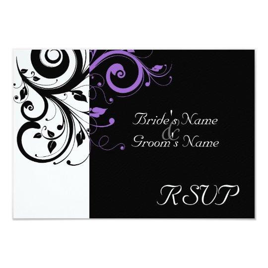 Sm Black +White Purple Swirl Wedding Matching RSVP Card
