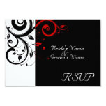 Sm Black +White Red Swirl Wedding Matching RSVP