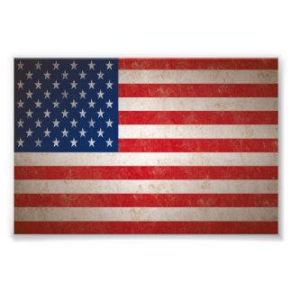 Sm Vintage Grunge Style American Flag Photo Print