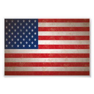 Sm. Vintage Grunge Style American Flag Photo Print