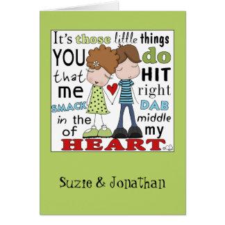 Smack Dab-Cute Couple Greeting Card