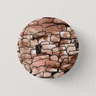 """Small 1 1/4"""" Round Button with old Portugal bldg."""