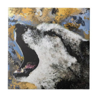 "Small (4.25"" x 4.25"") Ceramic Tile- Wolf Tile"