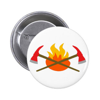 SMALL AXES AND FLAME 6 CM ROUND BADGE