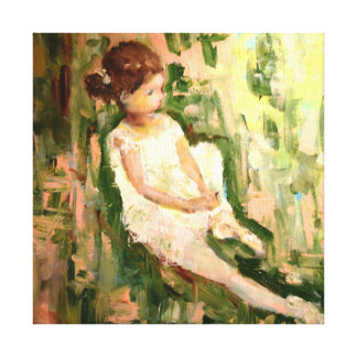 Small Ballerina Sitting In Garden Stretched Canvas Print