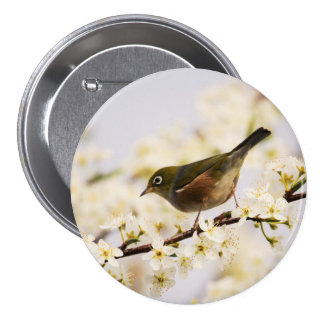 Small Bird Tree Spring Blossoms Nature 7.5 Cm Round Badge
