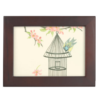 Small Birds Perched on a Branch and on a Birdcage Keepsake Box