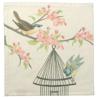 Small Birds Perched on a Branch and on a Birdcage Printed Napkin