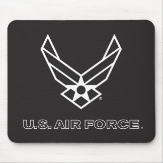 Small Black Air Force Logo with Outline Mouse Pad
