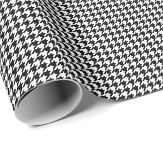 Small Black and White Houndstooth Wrapping Paper