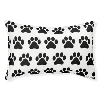 Small Black and White Paw Print Pattern Dog Bed