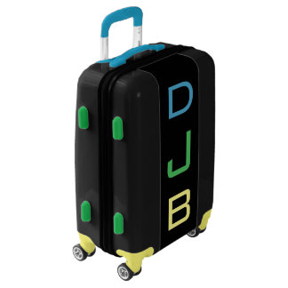 SMALL Black+Blue+Green+Yellow Monogram Carry On Luggage