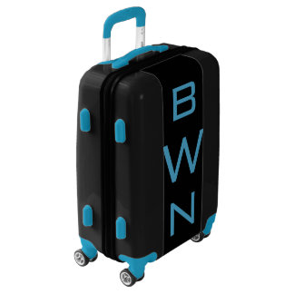 SMALL Black + Blue Personalized Monogram Carry On Luggage
