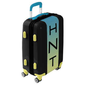SMALL Black + Blue-Yellow Ombre Monogram Carry On Luggage