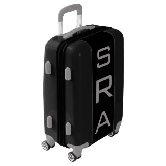 SMALL Black + Gray Personalized Monogram Carry On Luggage