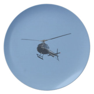 Small black helicopter. plate
