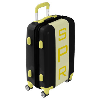 SMALL Black + Light Yellow Monogrammed Carry On Luggage