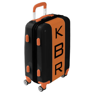 SMALL Black + Orange Monogrammed Carry On Luggage