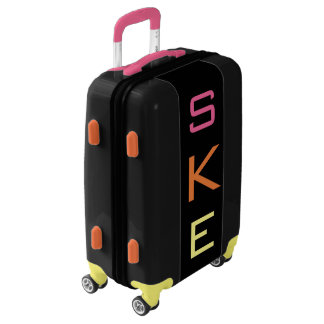 SMALL Black+Pink+Orange+Yellow Monogram Carry On Luggage
