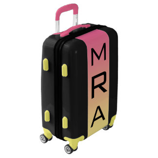 SMALL Black + Pink-Yellow Ombre Monogram Carry On Luggage