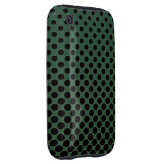 Small black polka dots on dark green tough iPhone 3 case