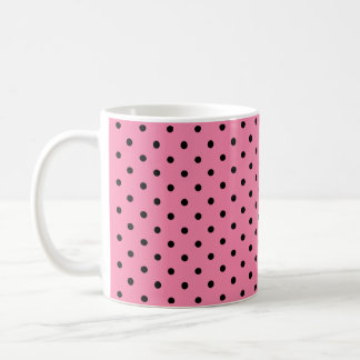 Small Black Polka Dots on hot pink background Basic White Mug