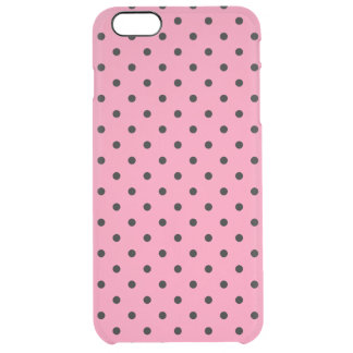 Small Black Polka Dots on hot pink Clear iPhone 6 Plus Case
