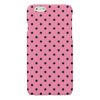 Small Black Polka Dots on hot pink iPhone 6 Plus Case