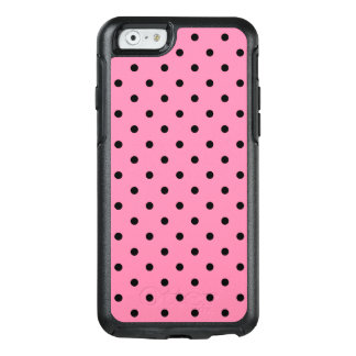 Small Black Polka Dots on hot pink OtterBox iPhone 6/6s Case