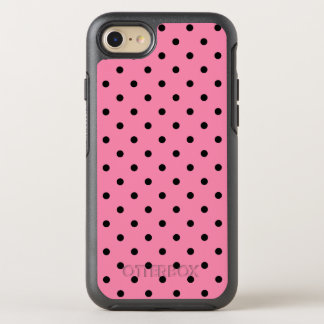 Small Black Polka Dots on hot pink OtterBox Symmetry iPhone 7 Case
