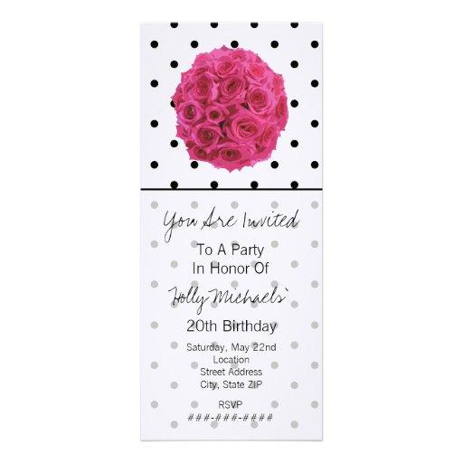 Small Black Polka Dots / Roses Party Invitation