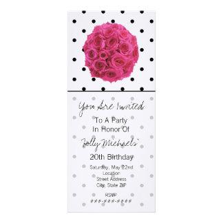 Small Black Polka Dots Roses Party Invitation