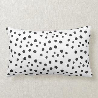 Small Black Watercolor Abstract Polka Dots Lumbar Pillow