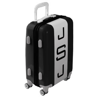 SMALL Black + White-Gray Ombre Monogram Carry On Luggage