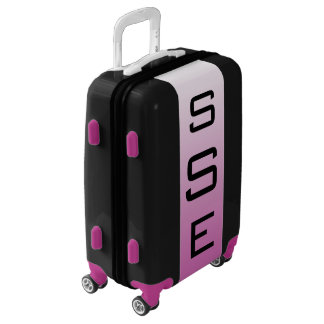 SMALL Black + White-Purple Ombre Monogram Carry On Luggage
