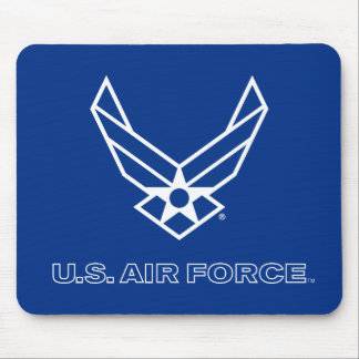 Small Blue Air Force Logo with Outline Mouse Pad
