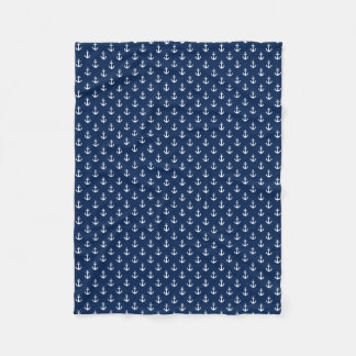 Small Blue and White Anchors Pattern Fleece Blanket