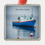 Small Blue Fishing Boat Christmas Ornament