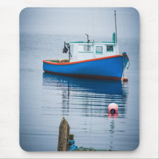 Small Blue Fishing Boat Mouse Mat