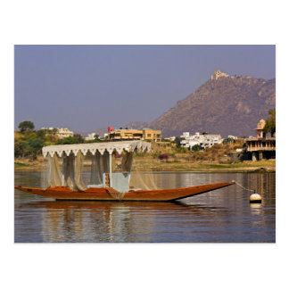 Small boat, Lake Pichola, Udaipur, India. Postcard