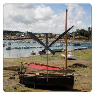 Small Boats | Ploumanac'H, France Square Wall Clock