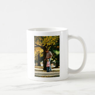 Small Boy going for a walk with Dad Basic White Mug