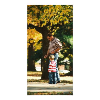 Small Boy going for a walk with Dad Customized Photo Card