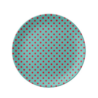 Small Bright Red Polka Dots on Light Teal Plate