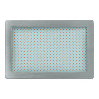 Small Brown Polka Dots On Blue Background Belt Buckles