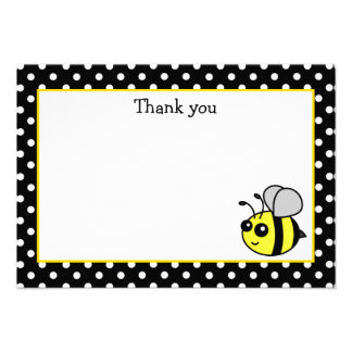 Small Bumble Bee Yellow Flat Thank You Note Cards Personalized Announcement