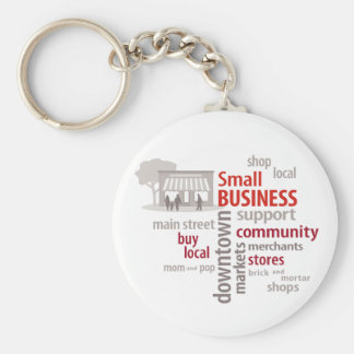 Small Business, Shop Local, Buy Local Basic Round Button Key Ring